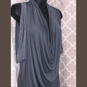 Gray Embellished Cowl Neck Tunic Top